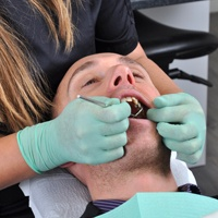 Man receiving dental work