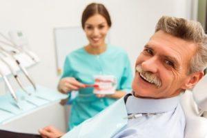 Older man with dental implants